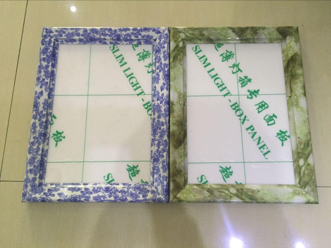 仿不锈钢色转角, 背板:kt板或pvc发泡板, 面板:ps透明有机板 边框宽度