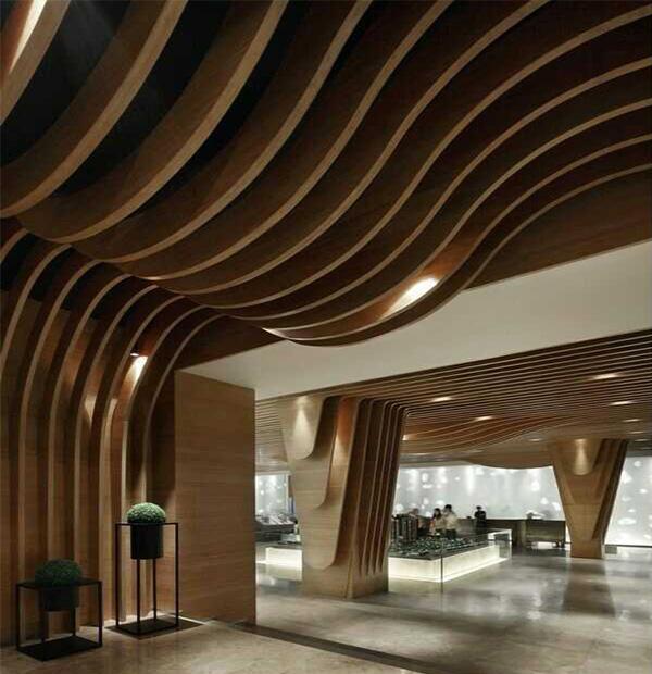 型材木纹铝方通弧形铝方通吊顶