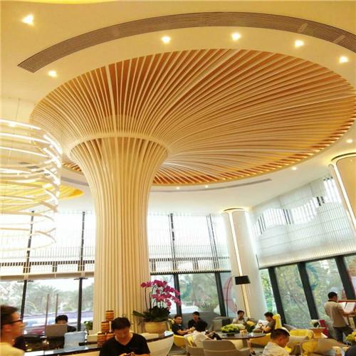 大堂弧形铝方管天花吊顶效果图图片