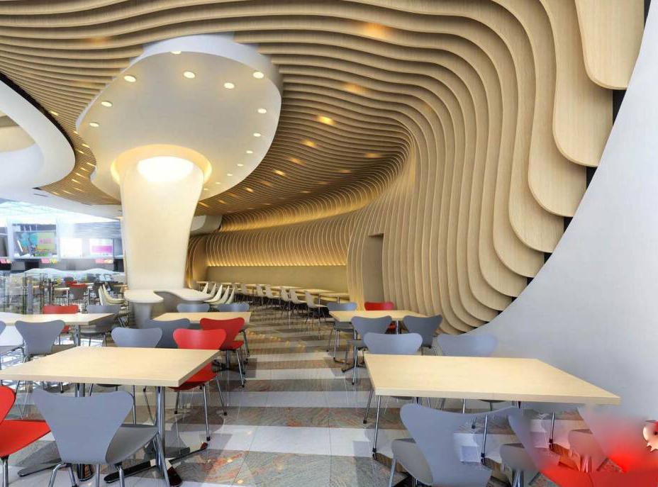 深圳会议室木纹铝方通造型吊顶