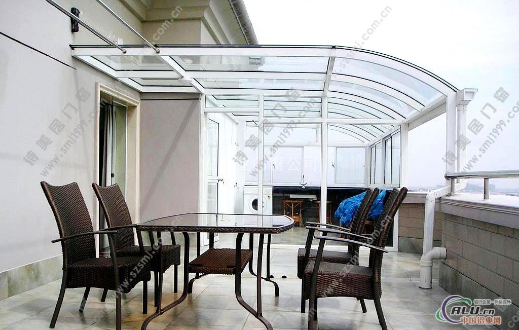 楼顶平顶型铝合金阳光房价格图片