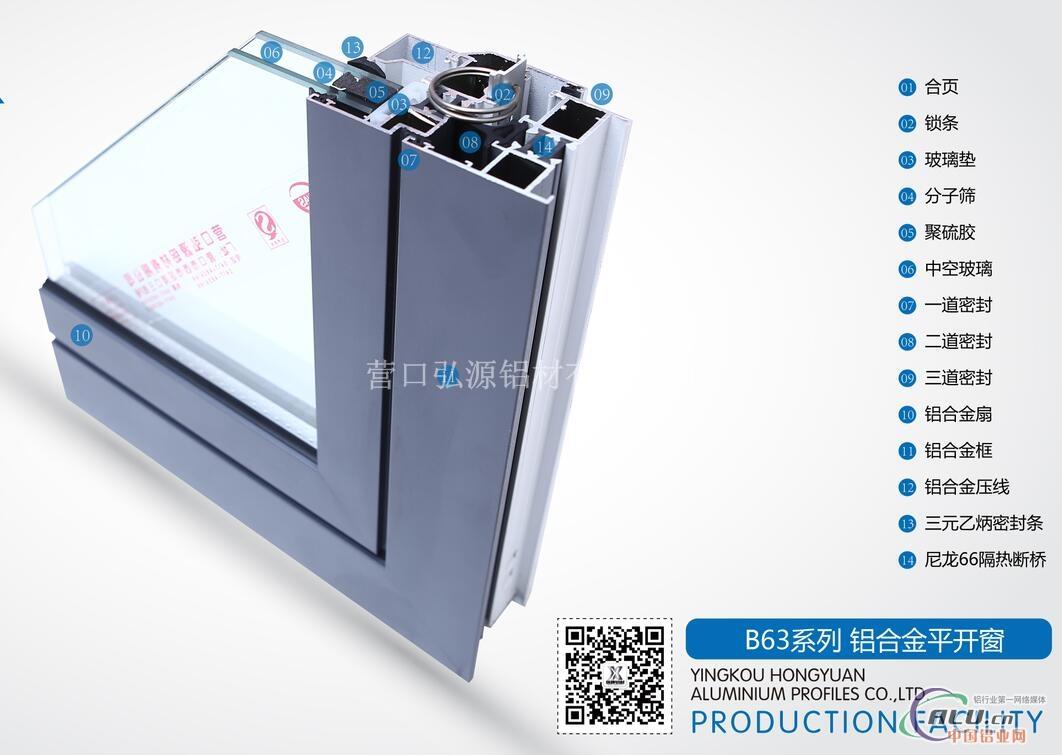 铝型材断桥门窗b63