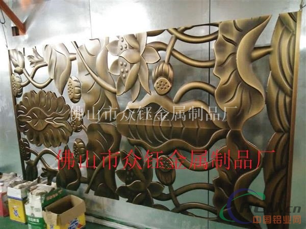 艺术铝板雕花镂空仿古铜屏风隔断