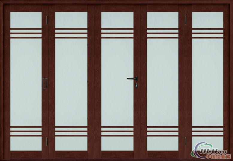 钛镁铝合金大折叠门是一种采用靠上下轨道水平移动,多扇折叠、推移到侧边,这种门开启时无噪音、占空间较少、美观、大方。 适用范围:阳台与客厅、客厅与餐厅、餐厅与厨房、卫生间隔断等 颜色:红胡桃、黑胡桃、沙比利、纯白 材料:是采用先进钛镁铝合金制作吊轨、门框、门扇边框。(钛镁铝合金:就是在铝锭中加入钛、镁元 素的合金,其突出特点是密度小、强度高。具有很好的耐蚀性,良好的塑性和较高的强度) 玻璃图案种类: (1)玻璃做图:晶彩、暗花、冰雕、彩雕、彩绘等 (2)中间加装饰品:有黑金龙、黑银龙、冰贝、福字、格条、铝花