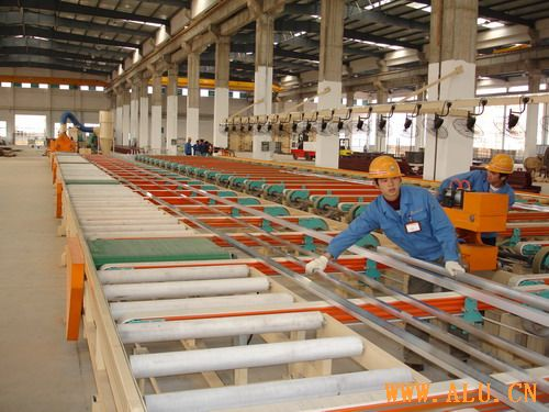 Conveyor table for aluminium profile