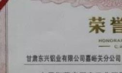 """东兴铝业获评""""嘉峪关工业园区低碳发展示范企业"""""""