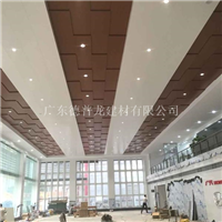 广汽展厅用木纹色勾搭天花门头铝百叶