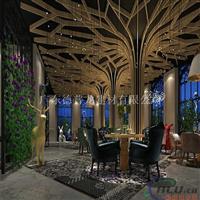 餐厅特色造型吊顶木纹铝方通