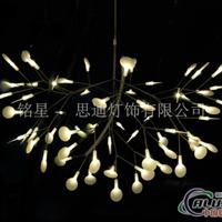 树枝不锈钢吊灯萤火虫白叶子吊灯